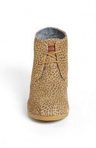 Toms ?rken-gepard semsket kile bootie leopard Sko