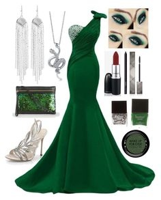 """""""Slytherin Yule Ball //Annabeth"""" by the-fandom-gals ❤ liked on Polyvore featuring Sergio Rossi, MAC Cosmetics, Burberry, NARS Cosmetics, MAKE UP FOR EVER, Butter London, Paul Smith, Oxxo, BERRICLE and theonewithalltheanswers"""