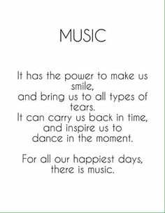 For all our happiest days, there is music. For all our happiest days, there is music.,Geile Sprüche For all our happiest days, there is music. Related posts:Is Your Friend A Narcissist? The Telltale Signs. Lyric Quotes, True Quotes, Best Quotes, Singing Quotes, Funny Quotes, Qoutes, Best Music Quotes, Violin Quotes, Choir Quotes