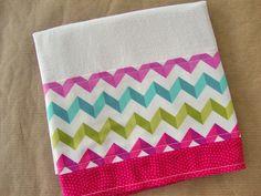 Hot Pink Chevron Flour Sack Towel  Hot Pink Aqua by Jambearies