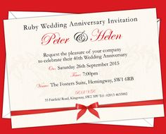 Ruby Wedding anniversary Invitations. Prices start from £6.50. Free envelopes and delivery inland uk only.