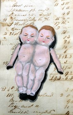"When all else fails I paint my crazy wonderful vintage bisque conjoined twins. Actual size of painting is 4"" tall. In my 1822 ledger. paulajmontgomery#art #drawing #gouache #painting #sketch #sketchbook #artist #illustration #gouachepainting #gouachepaint #draw #watercolor #paint #artwork #instaart #mixedmedia #twins #artistsoninstagram #creative #instaartist #sketching #artclass #artclasses #artteacher #arteducation #artschool #paulamontgomery #artistsofinstagram #fortcollins"