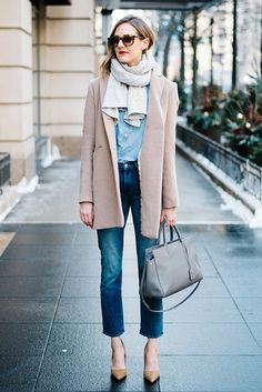 fall / winter, fall fashion, winter fashion, fall outfits, winter outfits, street style, street chic style, casual outfits, denim on denim, blush coat + pale pink coat + denim shirt + denim crop jeans + nude suede heels + light grey handbag + brown sunglasses + light grey scarf