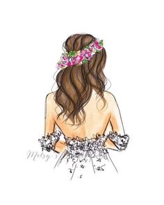 Flowers Girl Drawing Illustration Ideas For 2019 Fashion Sketches, Art Sketches, Drawing Fashion, Floral Crown Wedding, Floral Crowns, Wedding Flowers, Arte Fashion, Paper Fashion, Floral Fashion
