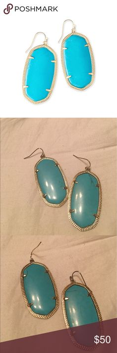 Kendra Scott Danielle Earrings Kendra Scott Danielle style earrings with a Turquoise stone and gold setting. Only worn a few times, like new! No discoloration at all. Kendra Scott Jewelry Earrings