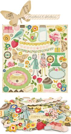 Adorable scrapbooking papers and embellishments - Brand: Crate Paper; Design Set: Pretty Party