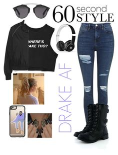 """""""DRAKE AF"""" by missymoss ❤ liked on Polyvore featuring Topshop, Soda, Casetify, Christian Dior, Beats by Dr. Dre, Ivy Park, DRAKE, views and 60secondstyle"""