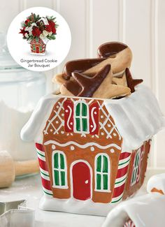 Buddy Valastro's Chocolate-Dipped Cookies inside Teleflora's Gingerbread Cookie Jar Bouquet Magical Christmas, Christmas Treats, Christmas Baking, Christmas Flower Arrangements, Christmas Flowers, Candy Cookies, Holiday Cookies, Cake Boss Family, Chocolate Dipped Cookies