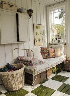sleeping porch with an iron bed Home Interior, Interior Design, Bathroom Interior, Interior Ideas, Interior Inspiration, Interior Decorating, Decoration Shabby, Sleeping Porch, Deco Boheme
