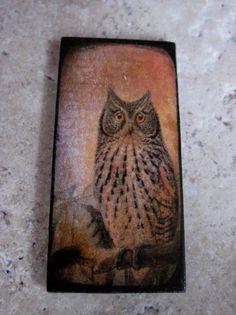 OWL Pendant 1X2 Custom Drilled Ephemera Tile by Moreskyejewels, $8.00