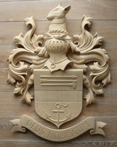 Stone yard sign family crest