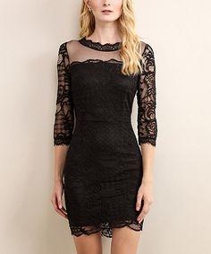 Loving this Black Lace V-Back Sheath Dress on #zulily! #zulilyfinds