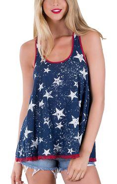 45becece28784 Others Follow Courage Dress Blues Stars Tank OT161817Blue