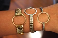 vintage watchbands with sterling silver/gold circle face replacements