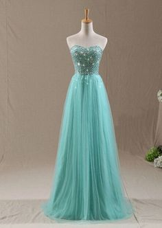 Sweetheart Neck Long Tulle Prom Dresses Custom Made Crystals Party Dresses