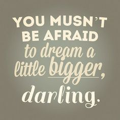 you musn't be afraid to dream a little bigger, darling