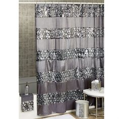 White Black And Silver Gray Shower Curtain Sequins 72in X 72in Gray Shower Curtains And