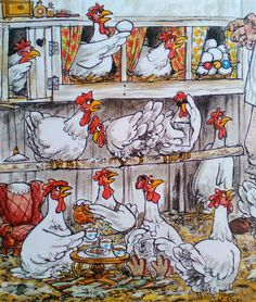 Pettersson und Findus Aufruhr im Gemüsebeet 1991 Homemade Stickers, Chickens And Roosters, Children's Book Illustration, Funny Art, Cartoon Drawings, Cat Art, Pet Birds, Illustrators, Art For Kids