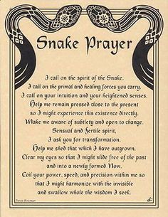 Snake Prayer Book of Shadows Page or Poster Wicca Animal Spirit Guides, Snake Spirit Animal, Pagan Witch, Witches, Under Your Spell, Beautiful Posters, Animal Totems, Book Of Shadows, Dark Fantasy