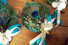peacock feather corsages