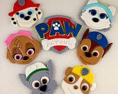 6 Puppy Faces & 1 Paw Patrol Logo, Paw Patrol Cupcake Toppers, Paw Patrol Cake Topper, Paw Patrol Fondant, Fondant Cupcakes, Shields, Paw Pa