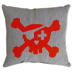 As famous as the peg leg, eye patch and parrot. The pirate cushion is sort after by even the most fearsome of pirates. Because after all, even pirates need a nap.  - Screen printed   - Heavy weight 100% cotton fabric   - Dark blue and white stripe fabric  - Available in fluorescent orange  - Stuffed cushion 30cm x 28cm  - FREE postage within Australia