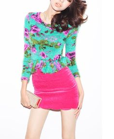 Retro Knit Top with Peplum Hem