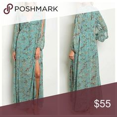 NWT FLORAL MAXI DRESS Maxi Dress Material Contents: 100% Polyester • Made in USA • Flowy, light weight  V-neck,long sleeve Dresses Maxi