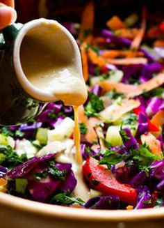 Loving the color of this Rainbow Salad on FitSugar! A great detox recipe with tahini-lemon dressing.