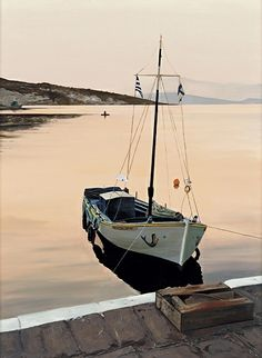 """aegean sunset by laurie chase Oil ~ 24"""" x 18""""Medium: Oil on 300# paper Size: 24"""" x 18""""  Price: $495.00 USD"""