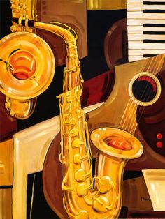 Abstract Sax by Paul Brent #music - Favourite instruments into one piece of artwork!