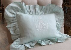Abigail design pillow with french scroll with crown embroidery. Off white thread on Ocean (joc) linen