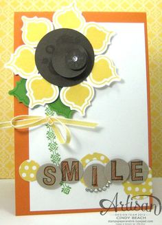 Stampin' Up! Mosaic Punch Art by Cindy B at Stamps, Paper, and Ink: Sunflower