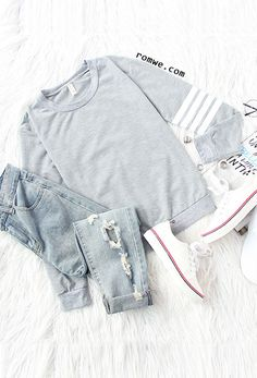 Light Grey Sleeve Striped Dropped Shoulder Seam Sweatshirt with ripped denim and white sneakers from romwe.com