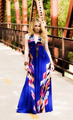 Azure Aztec Braided Halter Jersey Glam Gown.