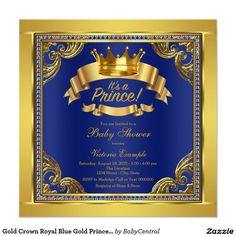 Gold Crown Royal Blue Gold Prince Baby Shower Invitation
