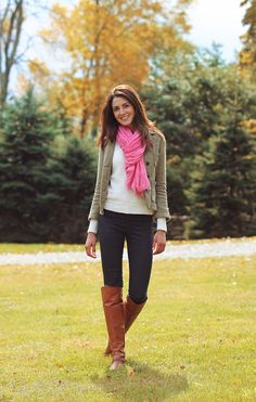 army jacket, cream sweater, black skinny jeans, brown boots, pop of color scarf (not sure if this is an army jacket, but the color looks similar to me. Could do this with a blazer/jacket too)