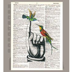 HUMMINGBIRDS on Hand - ORIGINAL ARTWORK print over an Repurposed Vintage Dictionary page Book art -Upcycled Book Print