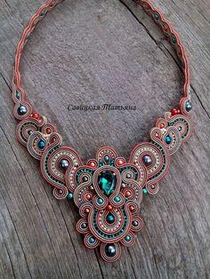 Elegant Soutache Oriental Necklace Soutache by MagicalSoutache Beige Necklaces, Handmade Necklaces, Handmade Jewelry, Green Necklace, Blue Earrings, Beaded Earrings, Boho Jewelry, Beaded Jewelry, Jewelery