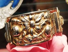 Antique Victorian Bracelet 1800s Repousse Metal Art Nouveau Wide Hinged Cuff Bangle Bracelet Gold Wash Roses Daisies Flower Embossed Jewelry