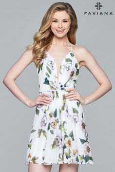 7ca07b0cdf Faviana 8093 is a short floral printed chiffon dress with a plunging V neck