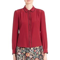 RED Valentino Silk Pleated Button Blouse (6 430 ZAR) ❤ liked on Polyvore featuring tops, blouses, apparel & accessories, wine, long sleeve red blouse, red silk blouse, red blouse, silk blouses and long sleeve peter pan collar blouse