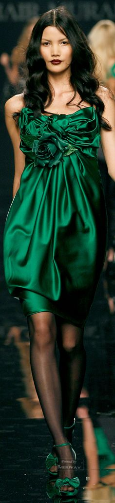Green silk midi dress for Zuhair Murad ༺༻ Zuhair Murad, Elie Saab, Trendy Dresses, Nice Dresses, Short Dresses, Winter Typ, Mode Glamour, Abed Mahfouz, Satin Color