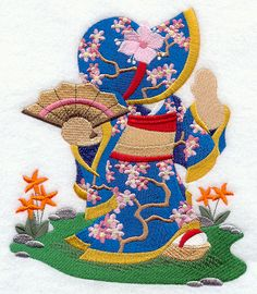 ** Geisha Sunbonnet Sue Block Of The Month Pattern Used As Applique Quilt @emlibrary