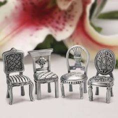 Pewter Chair Figurine Place Card Holders