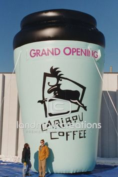 Caribou Coffee's Giant Inflatable Coffee Cup for Grand Openings #coffee #inflatables #marketing