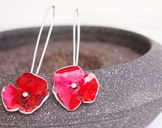 Red silver flower earrings, silver enamel earrings, silver large earrings, red poppy earrings, dangle earrings