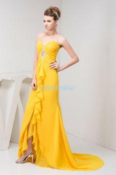 Sweetheart Train Yellow Sheath Chiffon Prom Dress With Shirring And Appliquess