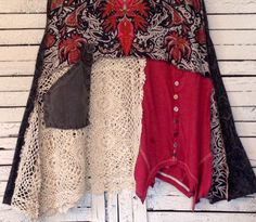 Upcycled Tunic with Lace M/L Upcycled Clothing by AnikaDesigns
