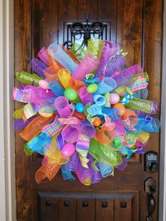 XXL Wreath Custom Made from Mesh Spirals in Blue Lime Pink Easter Wreaths, Birthday Wreaths, Baby Wreaths, Spring Wreaths, Summer Wreath, Deco Mesh Wreaths, Ribbon Wreaths, Door Wreaths, Diy Valentines Day Wreath